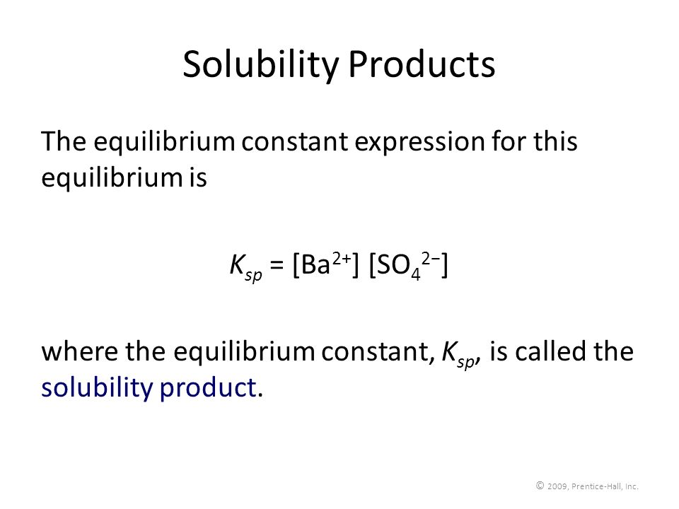 Solubility ProductsThe equilibrium constant expression for this equilibrium is. Ksp = [Ba2+] [SO42−]